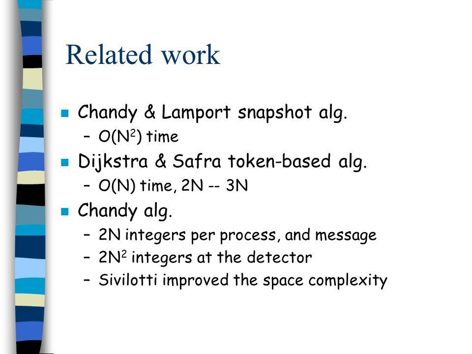 Related work n Chandy & Lamport snapshot alg. –O(N 2 ) time n Dijkstra & Safra token-based alg.