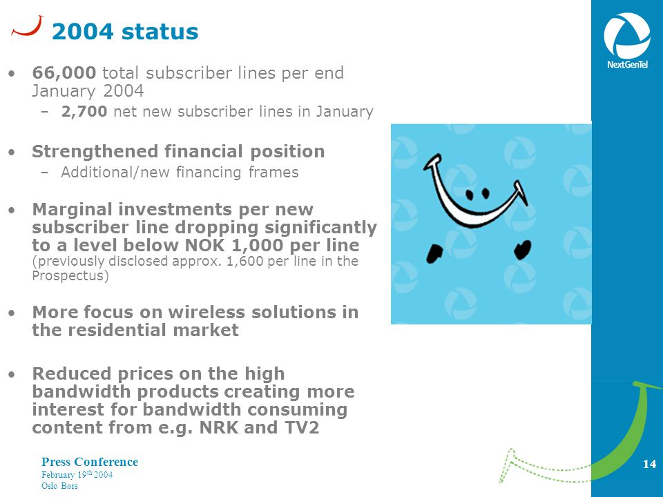 14 Press Conference February 19 th 2004 Oslo Børs 2004 status 66,000 total subscriber lines per end January 2004 –2,700 net new subscriber lines in January Strengthened financial position –Additional/new financing frames Marginal investments per new subscriber line dropping significantly to a level below NOK 1,000 per line (previously disclosed approx.