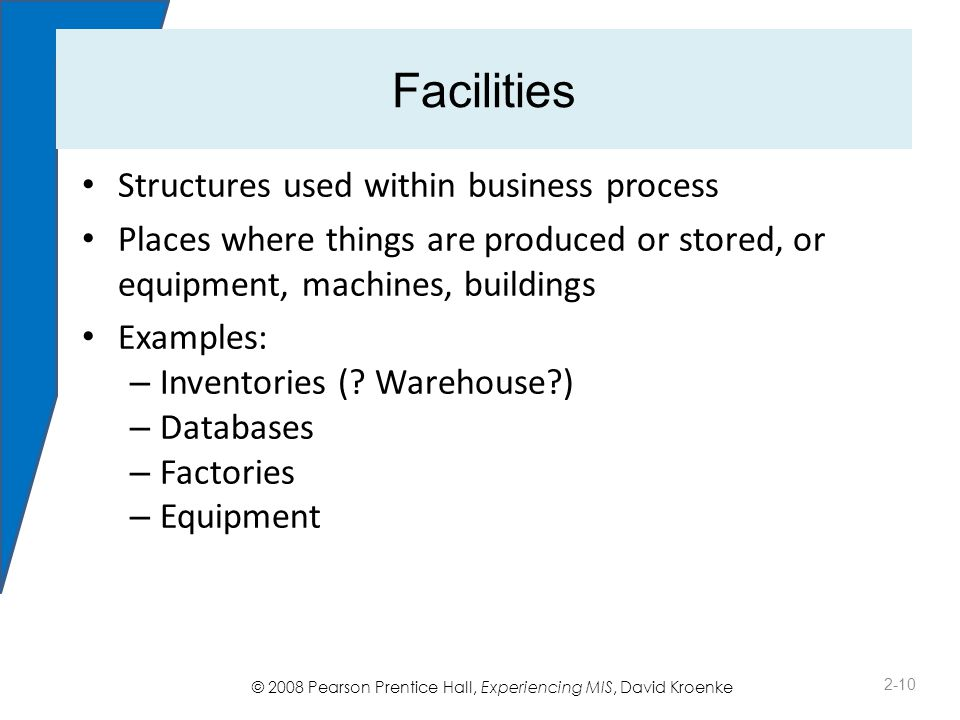 © 2008 Pearson Prentice Hall, Experiencing MIS, David Kroenke Facilities Structures used within business process Places where things are produced or stored, or equipment, machines, buildings Examples: – Inventories (.