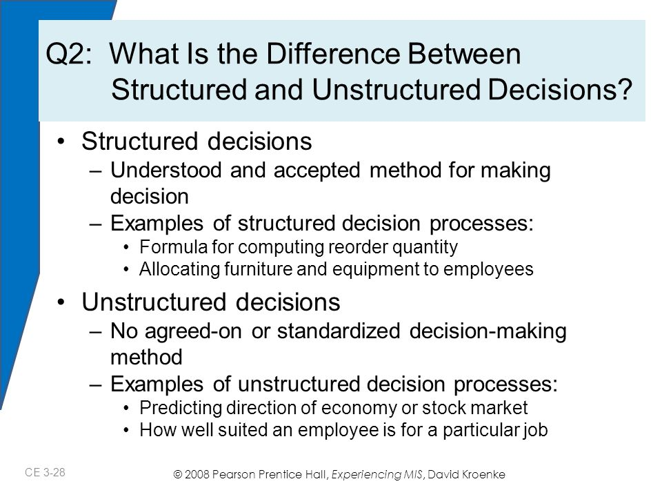 © 2008 Pearson Prentice Hall, Experiencing MIS, David Kroenke Structured decisions –Understood and accepted method for making decision –Examples of structured decision processes: Formula for computing reorder quantity Allocating furniture and equipment to employees Unstructured decisions –No agreed-on or standardized decision-making method –Examples of unstructured decision processes: Predicting direction of economy or stock market How well suited an employee is for a particular job Q2: What Is the Difference Between Structured and Unstructured Decisions.