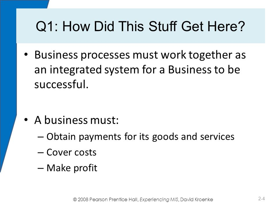 © 2008 Pearson Prentice Hall, Experiencing MIS, David Kroenke Q2: What Is a Business Process.