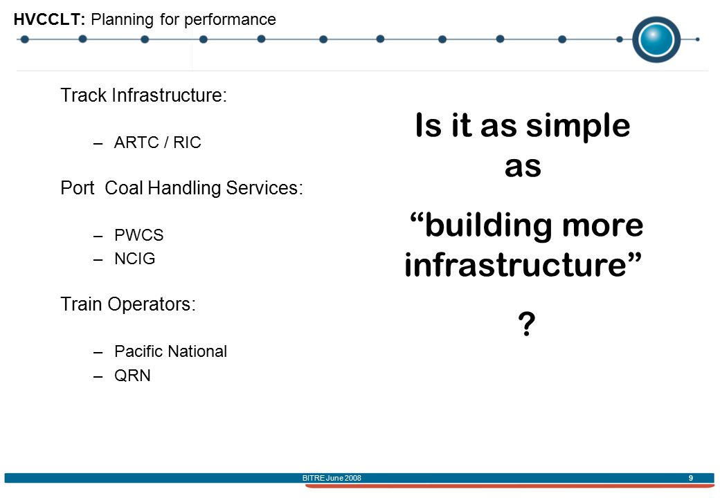 BITRE June 2008 9 HVCCLT: Planning for performance Track Infrastructure: –ARTC / RIC Port Coal Handling Services: –PWCS –NCIG Train Operators: –Pacific National –QRN Is it as simple as building more infrastructure ?