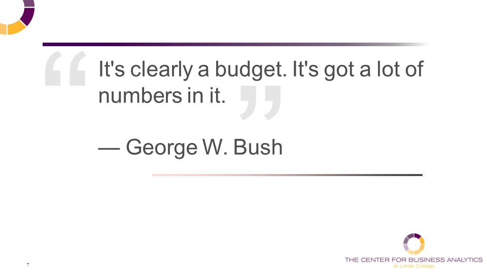 7 It s clearly a budget. It s got a lot of numbers in it. — George W. Bush