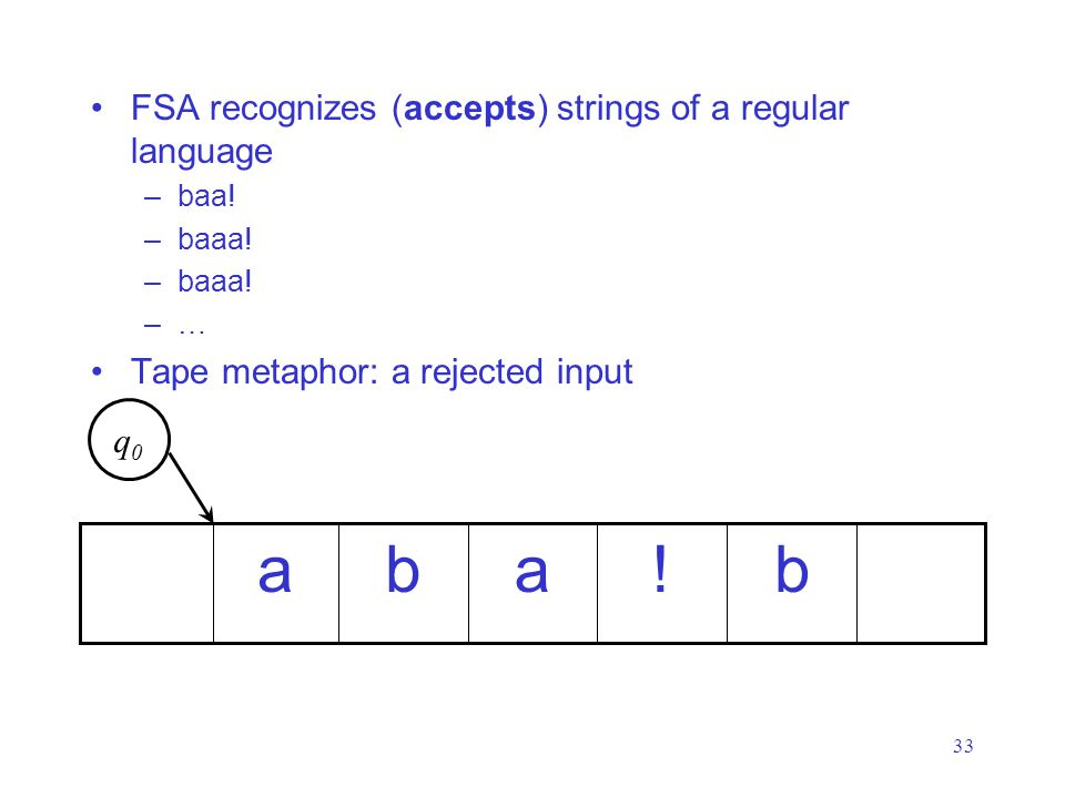 33 FSA recognizes (accepts) strings of a regular language –baa.