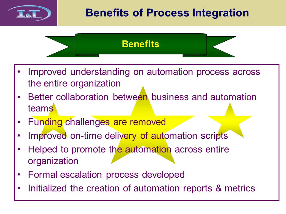 Benefits of Process Integration Benefits Improved understanding on automation process across the entire organization Better collaboration between busi