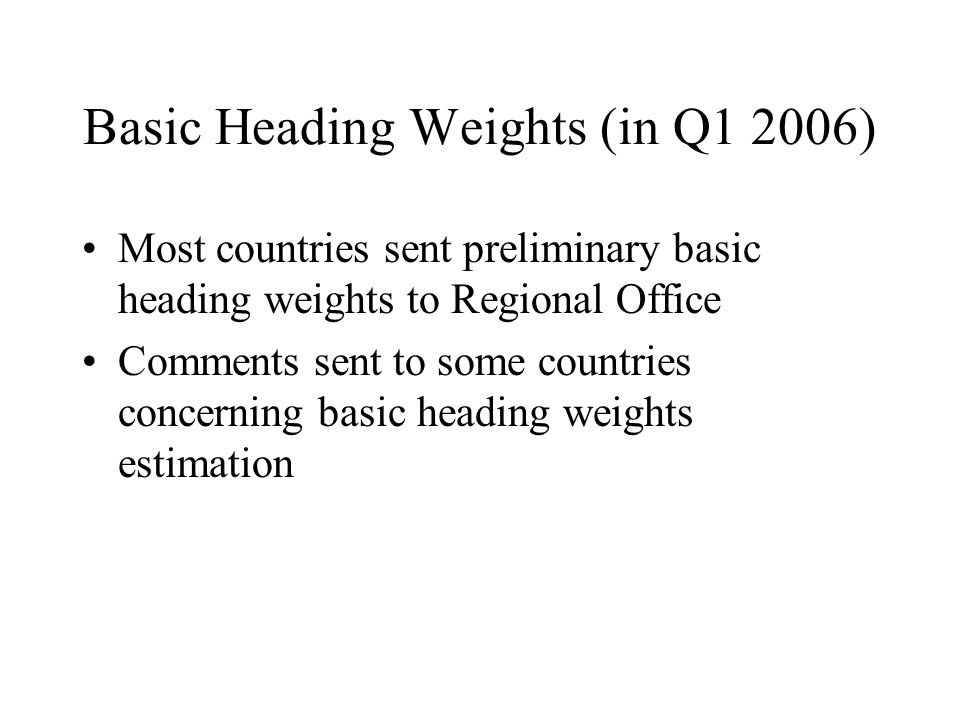 Basic Heading Weights (in Q1 2006) Most countries sent preliminary basic heading weights to Regional Office Comments sent to some countries concerning basic heading weights estimation