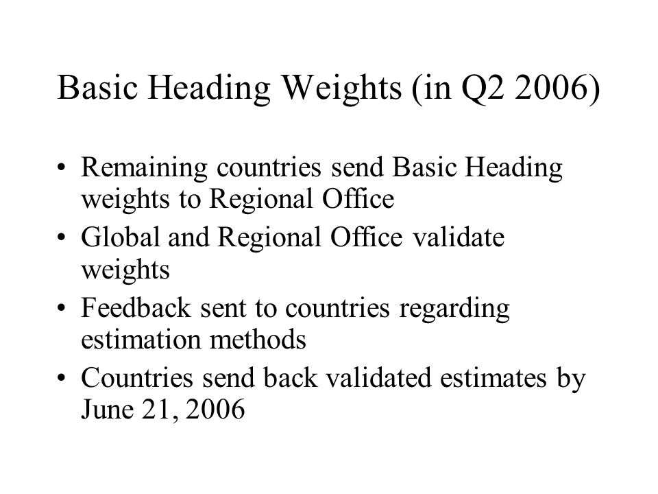 Basic Heading Weights (in Q2 2006) Remaining countries send Basic Heading weights to Regional Office Global and Regional Office validate weights Feedback sent to countries regarding estimation methods Countries send back validated estimates by June 21, 2006