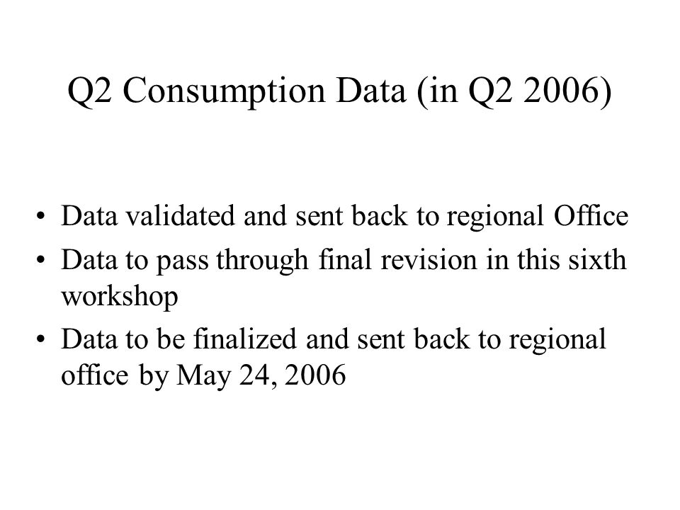 Q2 Consumption Data (in Q2 2006) Data validated and sent back to regional Office Data to pass through final revision in this sixth workshop Data to be finalized and sent back to regional office by May 24, 2006
