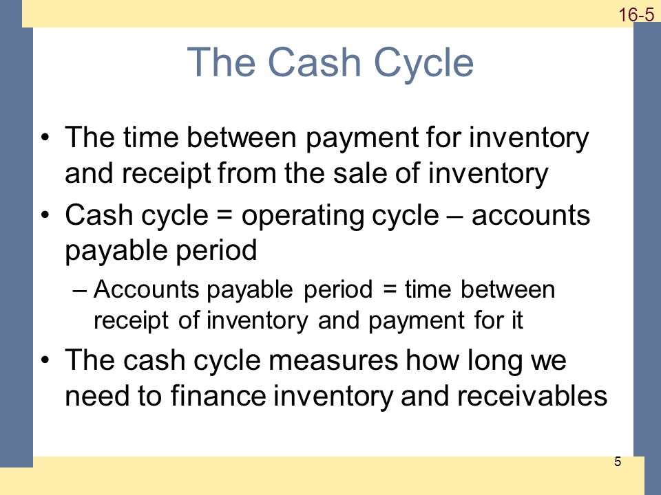 1-5 16-5 5 The Cash Cycle The time between payment for inventory and receipt from the sale of inventory Cash cycle = operating cycle – accounts payable period –Accounts payable period = time between receipt of inventory and payment for it The cash cycle measures how long we need to finance inventory and receivables