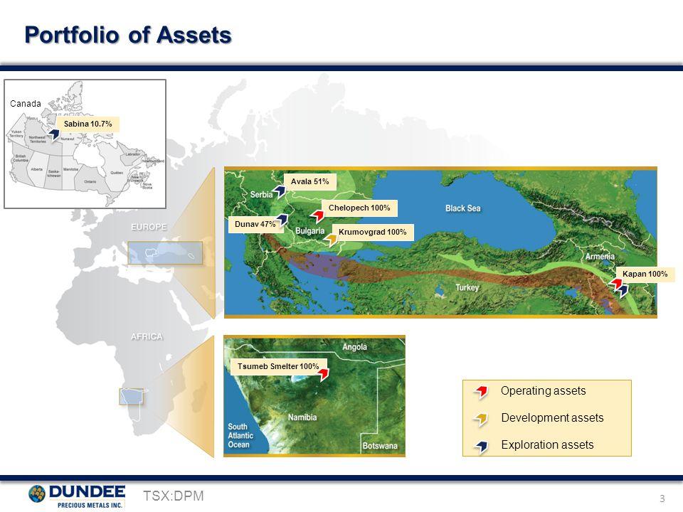 3 Portfolio of Assets TSX:DPM Avala 51% Krumovgrad 100% Chelopech 100% Dunav 47% Kapan 100% Tsumeb Smelter 100% Operating assets Development assets Exploration assets Canada Sabina 10.7%