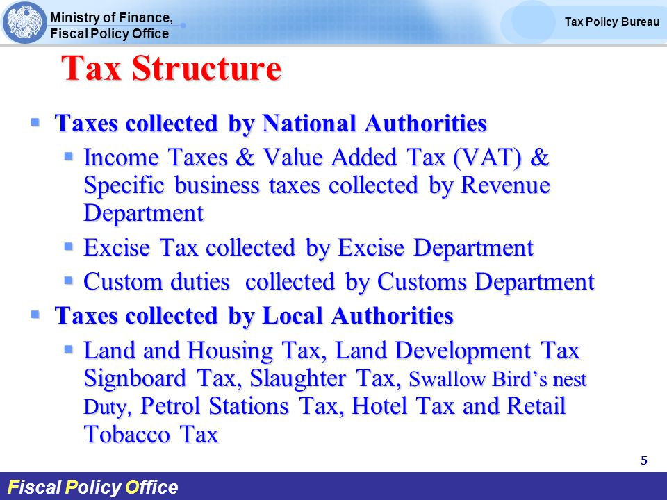 Ministry of Finance, Fiscal Policy Office Tax Policy Bureau Fiscal Policy Office Tax Structure Tax Structure  Taxes collected by National Authorities  Income Taxes & Value Added Tax (VAT) & Specific business taxes collected by Revenue Department  Excise Tax collected by Excise Department  Custom duties collected by Customs Department  Taxes collected by Local Authorities  Land and Housing Tax, Land Development Tax Signboard Tax, Slaughter Tax, Swallow Bird's nest Duty, Petrol Stations Tax, Hotel Tax and Retail Tobacco Tax 5