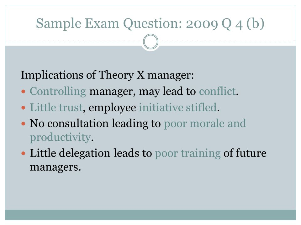 Implications of Theory X manager: Controlling manager, may lead to conflict.