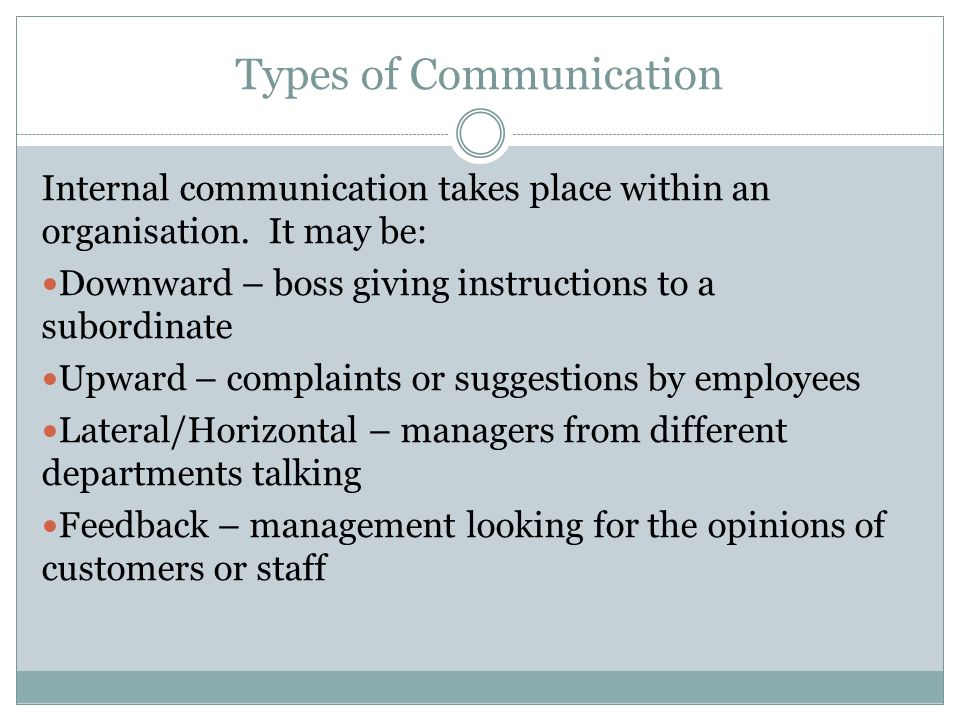 Types of Communication Internal communication takes place within an organisation.