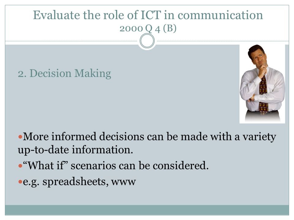 Evaluate the role of ICT in communication 2000 Q 4 (B) 2.