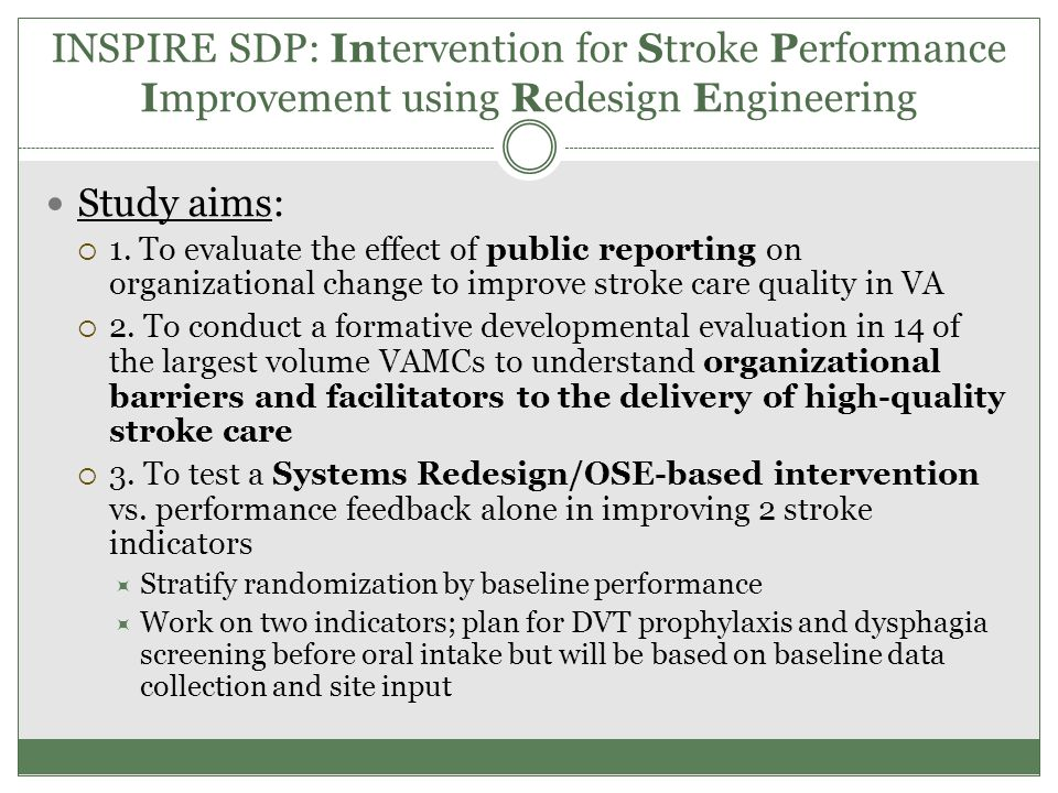 INSPIRE SDP: Intervention for Stroke Performance Improvement using Redesign Engineering Study aims:  1. To evaluate the effect of public reporting on