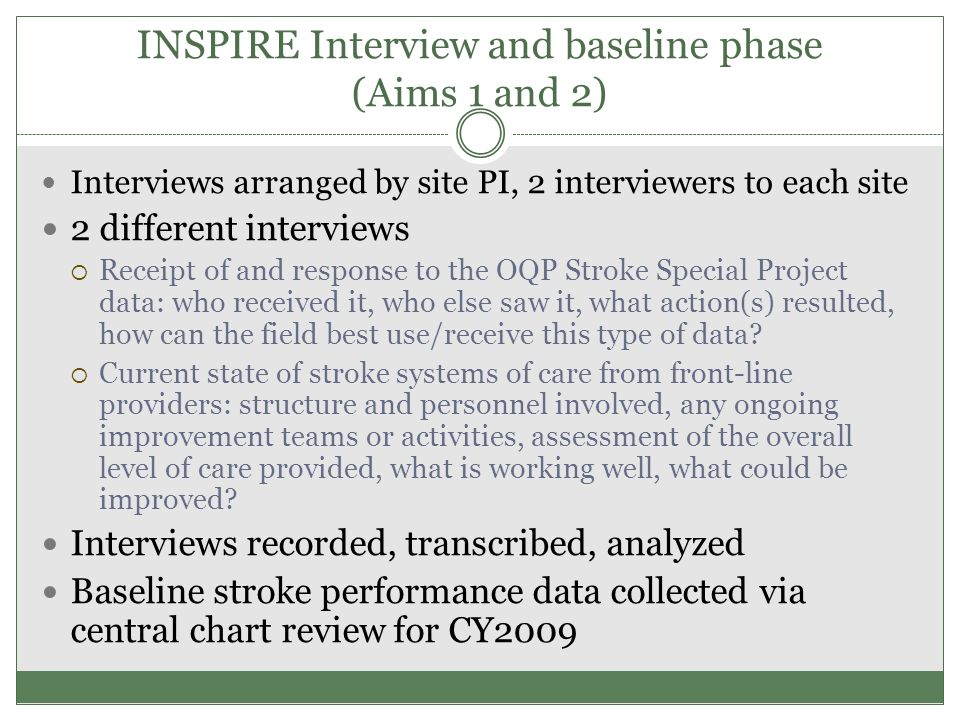 INSPIRE Interview and baseline phase (Aims 1 and 2) Interviews arranged by site PI, 2 interviewers to each site 2 different interviews  Receipt of an