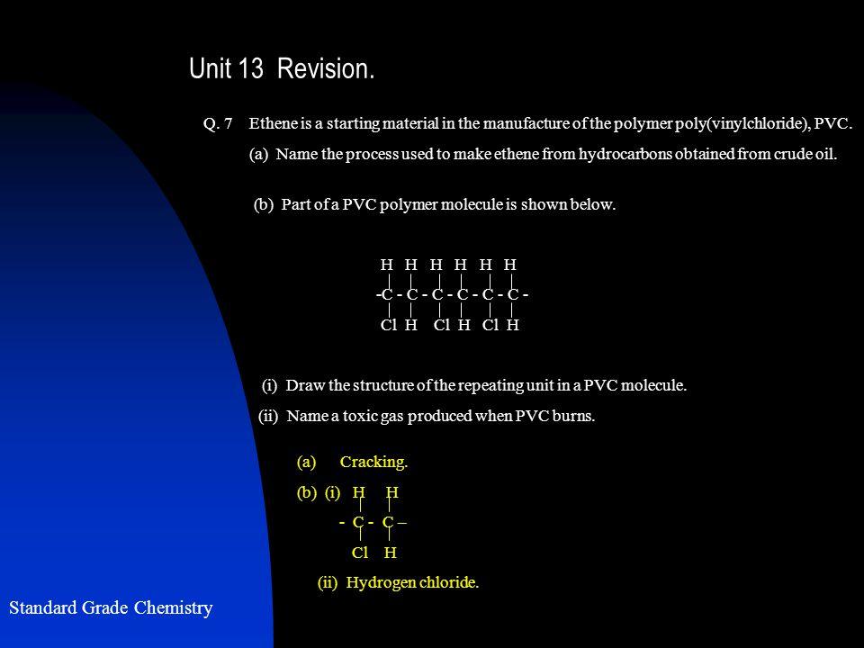 Standard Grade Chemistry Unit 13 Revision. Q.