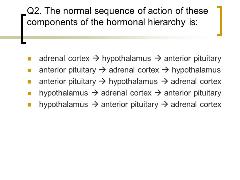 Q2. The normal sequence of action of these components of the hormonal hierarchy is: adrenal cortex  hypothalamus  anterior pituitary anterior pituit