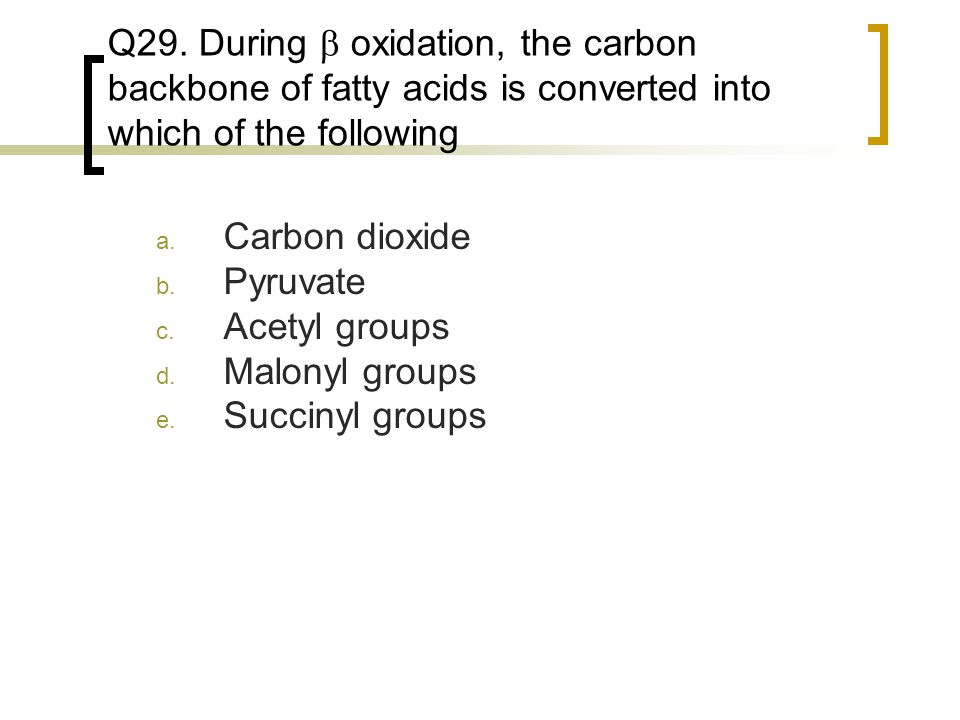 Q29. During  oxidation, the carbon backbone of fatty acids is converted into which of the following a. Carbon dioxide b. Pyruvate c. Acetyl groups d.