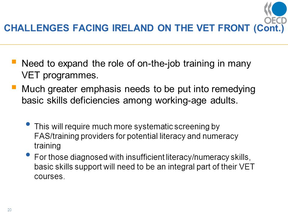 CHALLENGES FACING IRELAND ON THE VET FRONT (Cont.)  Need to expand the role of on-the-job training in many VET programmes.