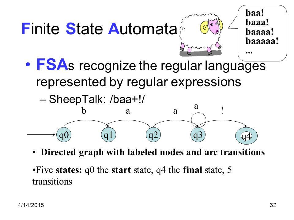 4/14/201532 baa! baaa! baaaa! baaaaa!... Finite State Automata FSA s recognize the regular languages represented by regular expressions –SheepTalk: /b