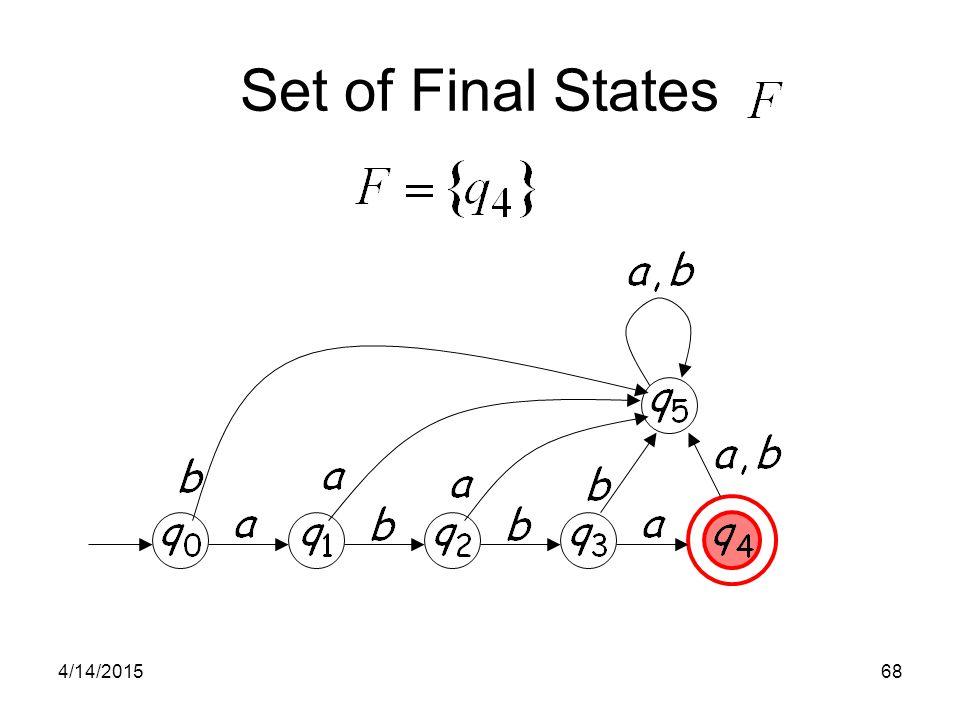 4/14/201568 Set of Final States