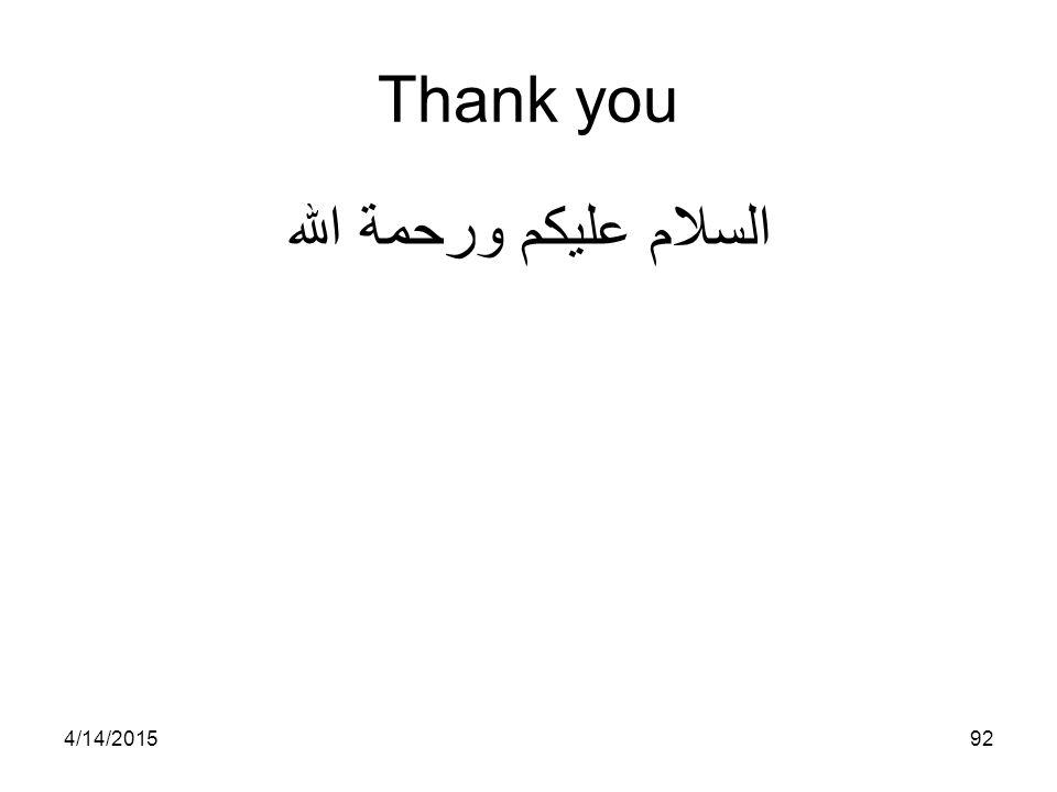 4/14/201592 Thank you السلام عليكم ورحمة الله