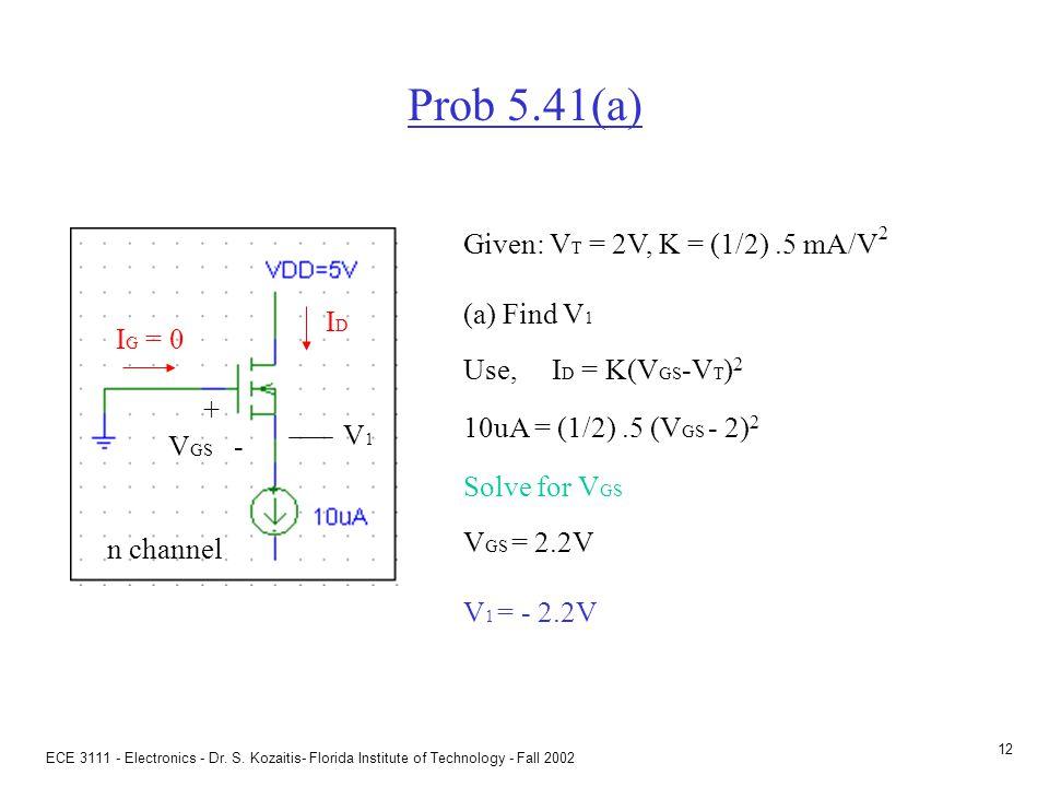 ECE 3111 - Electronics - Dr. S. Kozaitis- Florida Institute of Technology - Fall 2002 11 MOSFET aspect ratio I D = K(V GS -V T ) 2 K = transconductanc