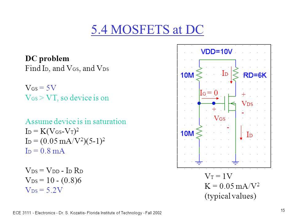 ECE 3111 - Electronics - Dr. S. Kozaitis- Florida Institute of Technology - Fall 2002 14 Prob 5.41(f) Given: V T = 2V, K = (1/2).5 mA/V 2 (f) Find V G