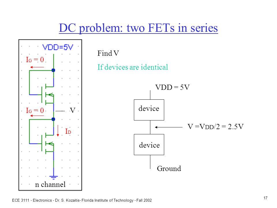 ECE 3111 - Electronics - Dr. S. Kozaitis- Florida Institute of Technology - Fall 2002 16 General DC problem + V GS - + V DS - IDID I G = 0 DC problem