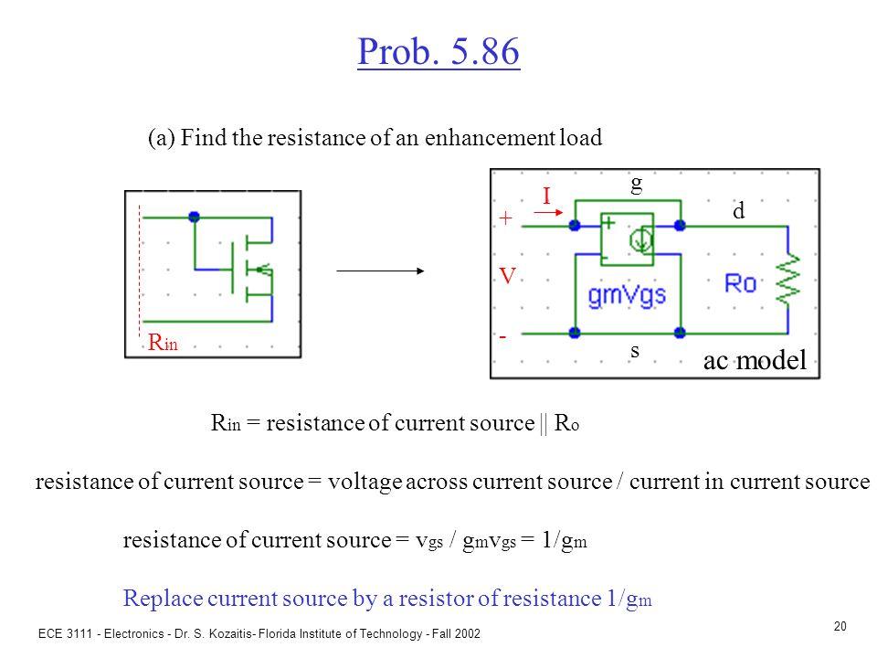 ECE 3111 - Electronics - Dr. S. Kozaitis- Florida Institute of Technology - Fall 2002 19 Transconductance Useful relation: g m = 2  K  I D Transcond