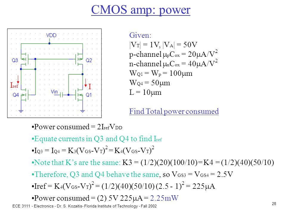 ECE 3111 - Electronics - Dr. S. Kozaitis- Florida Institute of Technology - Fall 2002 27 CMOS amp I ref I Q2 and Q3 form a p-channel current mirror lo
