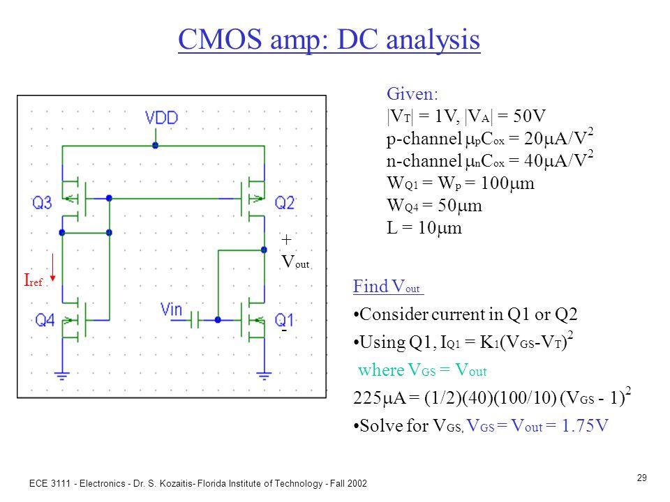 ECE 3111 - Electronics - Dr. S. Kozaitis- Florida Institute of Technology - Fall 2002 28 CMOS amp: power I ref I Given: |V T | = 1V, |V A | = 50V p-ch
