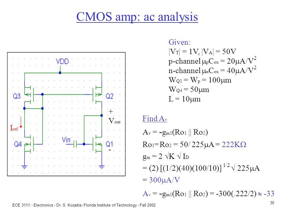ECE 3111 - Electronics - Dr. S. Kozaitis- Florida Institute of Technology - Fall 2002 29 CMOS amp: DC analysis Given: |V T | = 1V, |V A | = 50V p-chan