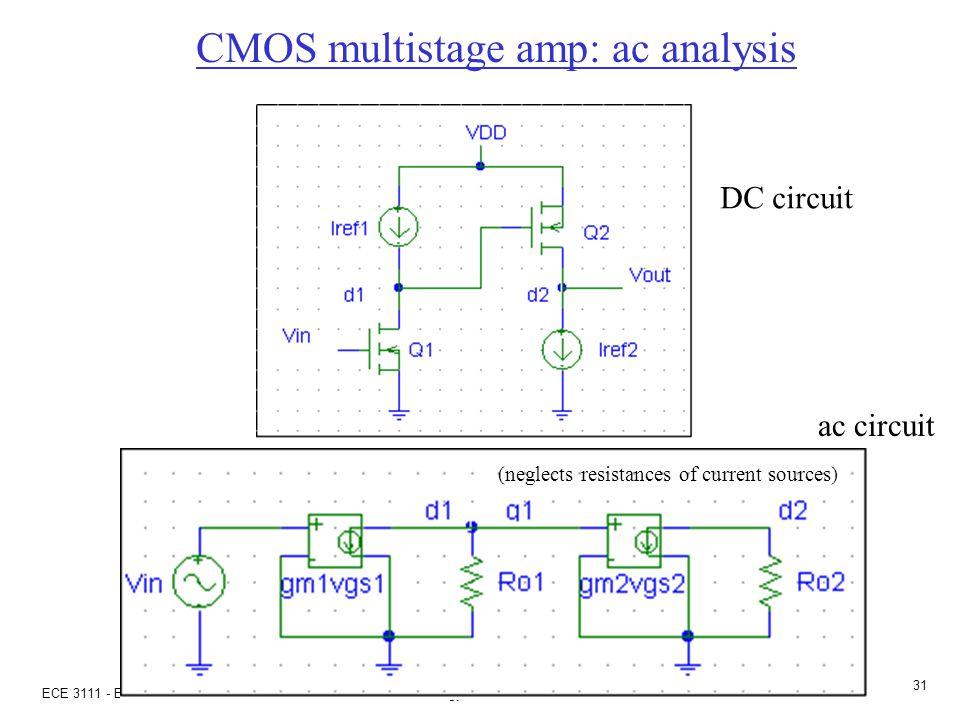 ECE 3111 - Electronics - Dr. S. Kozaitis- Florida Institute of Technology - Fall 2002 30 CMOS amp: ac analysis Given: |V T | = 1V, |V A | = 50V p-chan