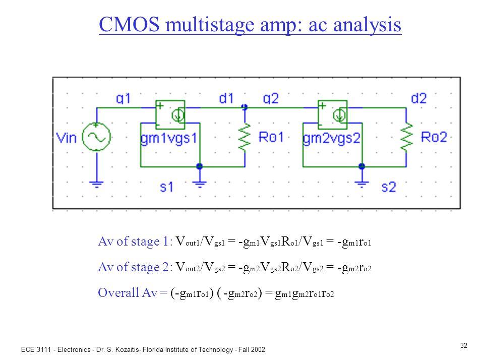 ECE 3111 - Electronics - Dr. S. Kozaitis- Florida Institute of Technology - Fall 2002 31 CMOS multistage amp: ac analysis DC circuit ac circuit (negle