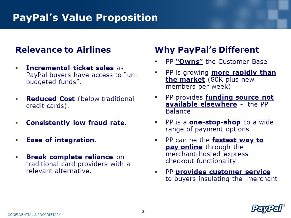 3 CONFIDENTIAL & PROPRIETARY PayPal's Value Proposition Why PayPal's Different  PP Owns the Customer Base  PP is growing more rapidly than the market (80K plus new members per week)  PP provides funding source not available elsewhere - the PP Balance  PP is a one-stop-shop to a wide range of payment options  PP can be the fastest way to pay online through the merchant-hosted express checkout functionality  PP provides customer service to buyers insulating the merchant Relevance to Airlines  Incremental ticket sales as PayPal buyers have access to un- budgeted funds .