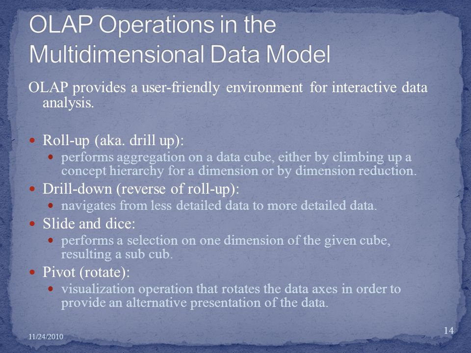 OLAP provides a user-friendly environment for interactive data analysis.