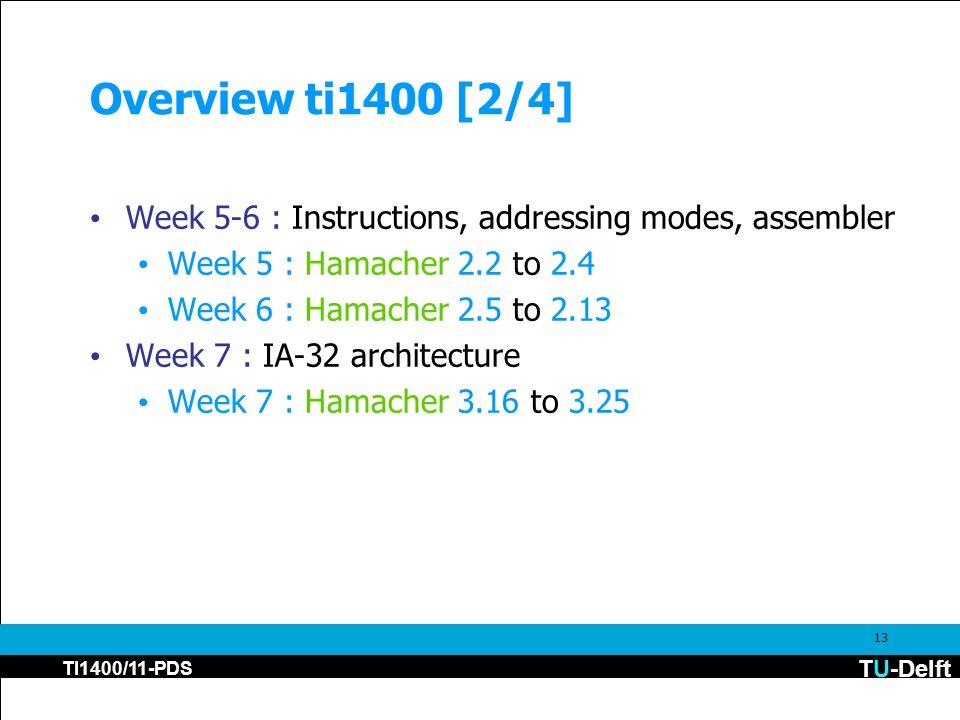 TU-Delft TI1400/11-PDS 13 Overview ti1400 [2/4] Week 5-6 : Instructions, addressing modes, assembler Week 5 : Hamacher 2.2 to 2.4 Week 6 : Hamacher 2.5 to 2.13 Week 7 : IA-32 architecture Week 7 : Hamacher 3.16 to 3.25
