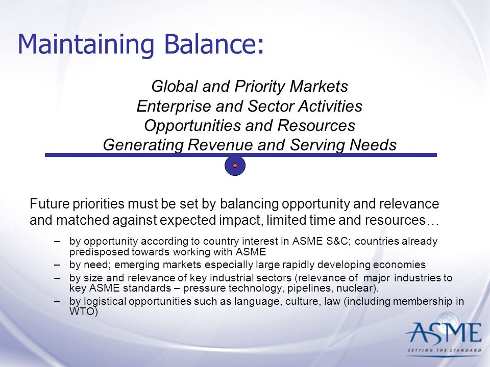 Maintaining Balance: Future priorities must be set by balancing opportunity and relevance and matched against expected impact, limited time and resources… –by opportunity according to country interest in ASME S&C; countries already predisposed towards working with ASME –by need; emerging markets especially large rapidly developing economies –by size and relevance of key industrial sectors (relevance of major industries to key ASME standards – pressure technology, pipelines, nuclear).