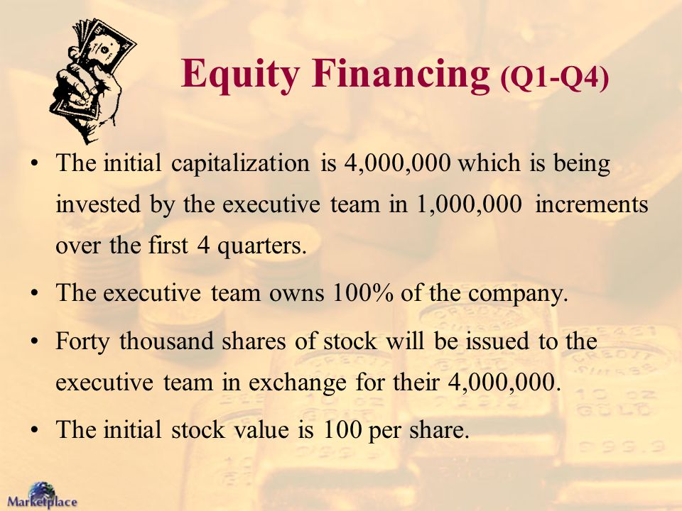 Equity Financing (Q1-Q4) The initial capitalization is 4,000,000 which is being invested by the executive team in 1,000,000 increments over the first
