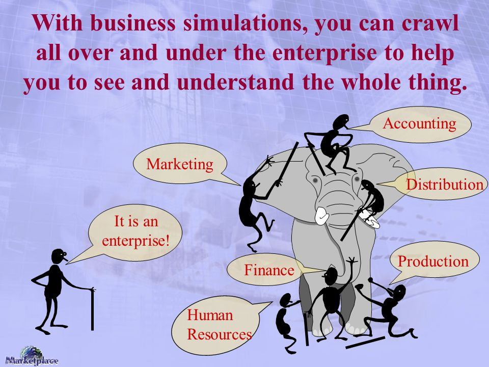 With business simulations, you can crawl all over and under the enterprise to help you to see and understand the whole thing. It is an enterprise! Acc