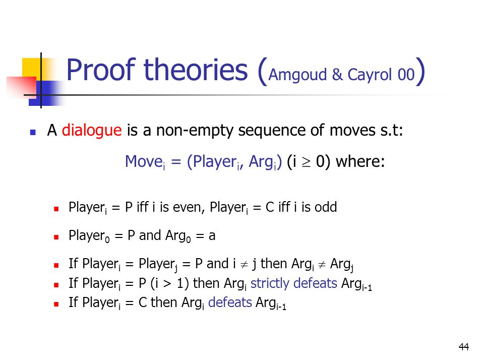 44 Proof theories ( Amgoud & Cayrol 00 ) A dialogue is a non-empty sequence of moves s.t: Move i = (Player i, Arg i ) (i  0) where: Player i = P iff