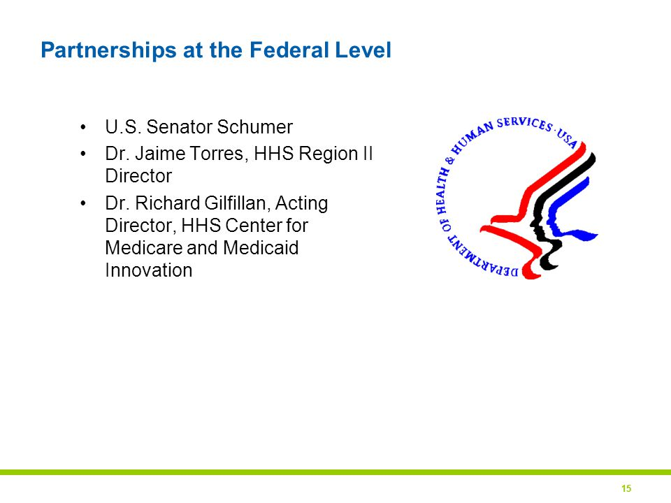 15 Partnerships at the Federal Level U.S. Senator Schumer Dr.