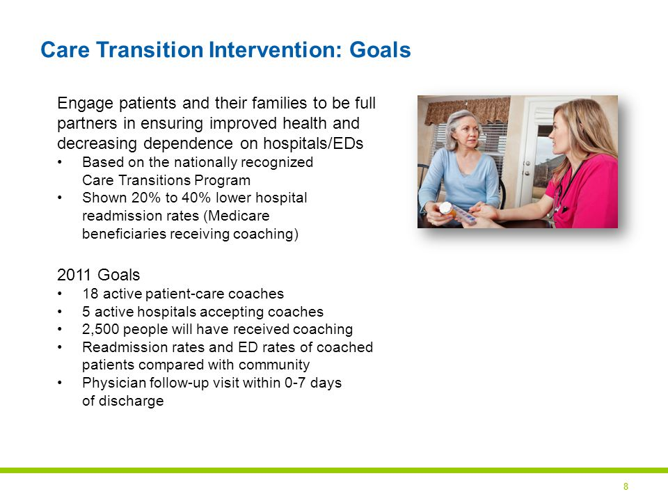 8 Care Transition Intervention: Goals Engage patients and their families to be full partners in ensuring improved health and decreasing dependence on hospitals/EDs Based on the nationally recognized Care Transitions Program Shown 20% to 40% lower hospital readmission rates (Medicare beneficiaries receiving coaching) 2011 Goals 18 active patient-care coaches 5 active hospitals accepting coaches 2,500 people will have received coaching Readmission rates and ED rates of coached patients compared with community Physician follow-up visit within 0-7 days of discharge