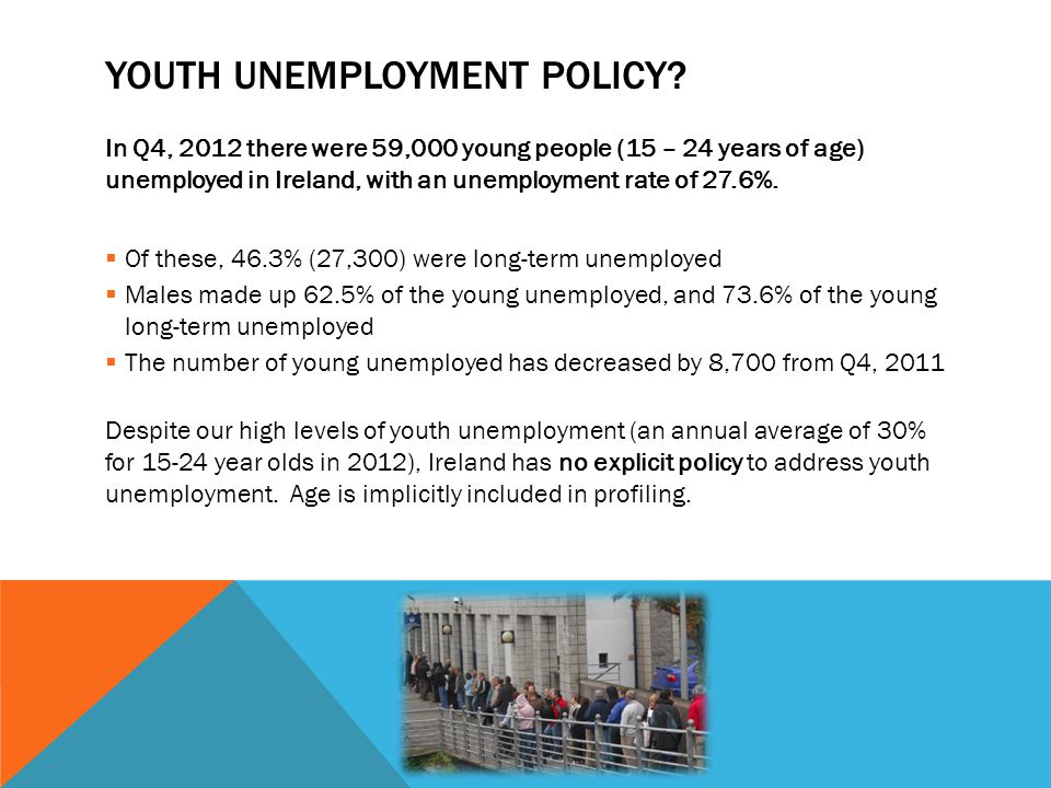 YOUTH UNEMPLOYMENT POLICY? In Q4, 2012 there were 59,000 young people (15 – 24 years of age) unemployed in Ireland, with an unemployment rate of 27.6%