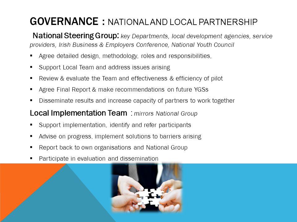 GOVERNANCE : NATIONAL AND LOCAL PARTNERSHIP National Steering Group : key Departments, local development agencies, service providers, Irish Business &
