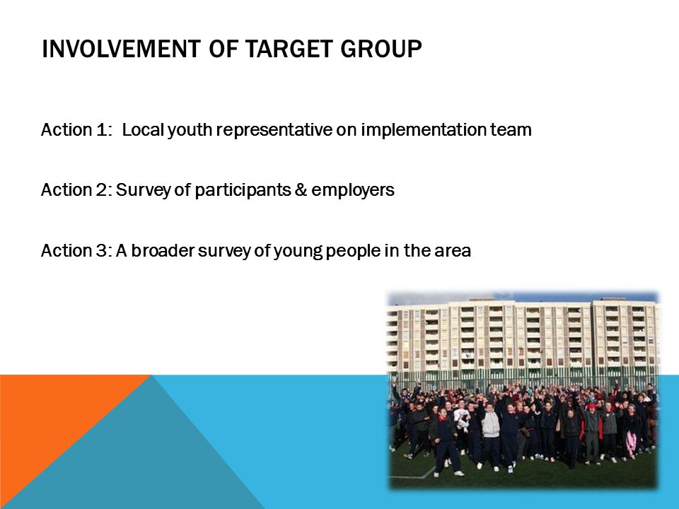 Action 1: Local youth representative on implementation team Action 2: Survey of participants & employers Action 3: A broader survey of young people in