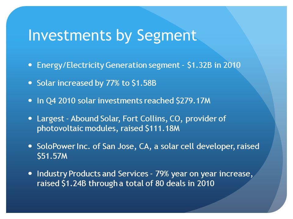 Investments in 2010 In 4Q - $355.84M, including $100M in Elevance Renewable Sciences Inc., of Bolingbrook, IL, a provider of specialty chemicals derived from natural oils, and $80M in SAGE Electrochromics Inc.