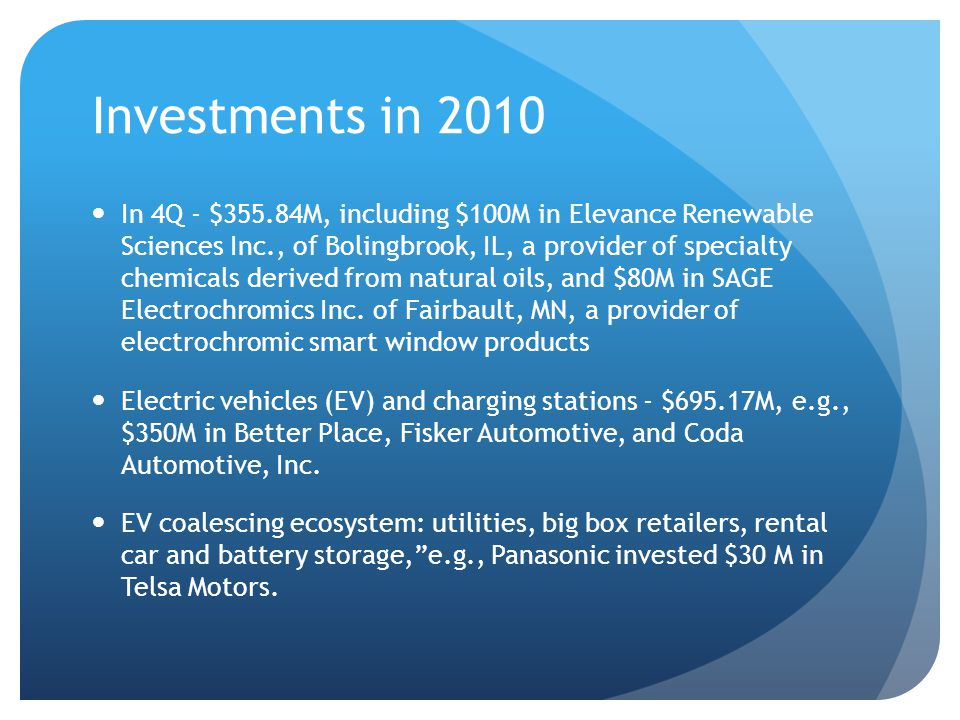Investments in 2010 Energy Efficiency segment dropped 9% from 2009 to 2010, to $688.99 million through 68 deals In Q4, OPOWER, Inc., of Arlington, VA, an energy consumption technology provider raised $50M Seed stage – $477M in 18 deals, averaging $26.5M each (8 in 2009) Second rounds accounted for $1B